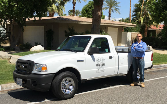 Rick Garcia with his Prestige Electric pickup in Palm Springs, CA